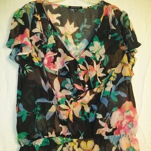 P187 Notations XL Floral Multicolor Ruffle Blouse